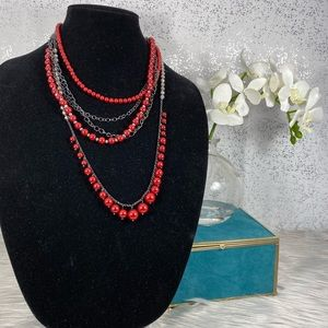 Ocasion Brand Red & Silver Layered Necklace
